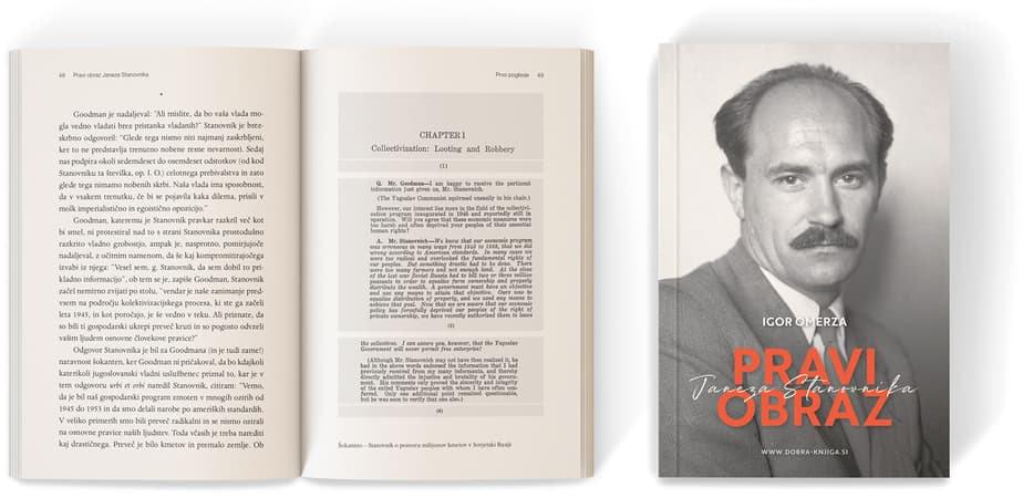 odprta knjiga, poleg nje zaprta knjiga z naslovnico in portretom Janeza Stanovnika