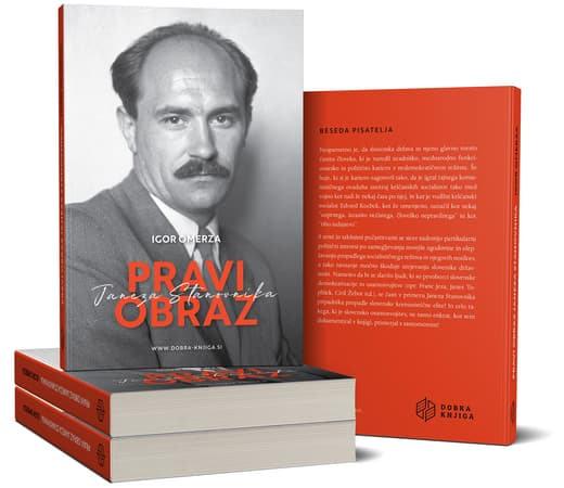 na kup naložene knjige, na vrhu knjiga s portretom Janeza Stanovnika