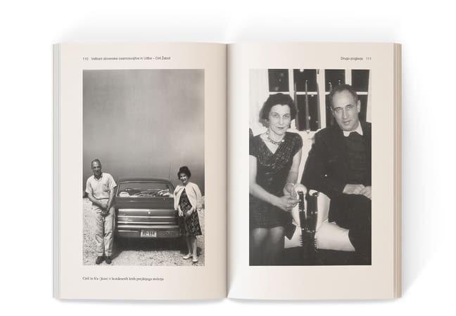 Ciril in Iča Žebot naslonjena na avto, desno pa skupni portret
