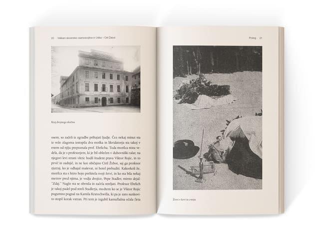 notranjost knjige, tekst in fotografije